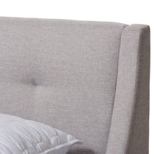 Baxton Studio Louvain Modern and Contemporary Greyish Beige Fabric Upholstered Walnut-Finished Queen Sized Platform Bed Baxton Studio-beds-Minimal And Modern - 4