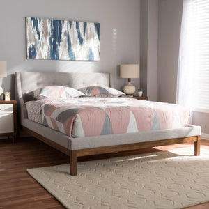 Baxton Studio Louvain Modern and Contemporary Greyish Beige Fabric Upholstered Walnut-Finished Queen Sized Platform Bed Baxton Studio-beds-Minimal And Modern - 6