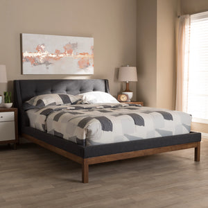 Baxton Studio Louvain Modern and Contemporary Dark Grey Fabric Upholstered Walnut-Finished Queen Sized Platform Bed Baxton Studio-beds-Minimal And Modern - 6