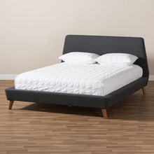 Baxton Studio Sinclaire Modern and Contemporary Dark Grey Fabric Upholstered Walnut-Finished Queen Sized Platform Bed Baxton Studio-beds-Minimal And Modern - 6