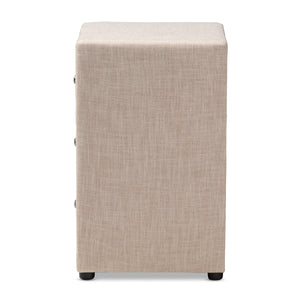 Baxton Studio Tessa Modern and Contemporary Beige Fabric Upholstered 3-Drawer Nightstand Baxton Studio-nightstands-Minimal And Modern - 4