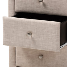 Baxton Studio Tessa Modern and Contemporary Beige Fabric Upholstered 3-Drawer Nightstand Baxton Studio-nightstands-Minimal And Modern - 6