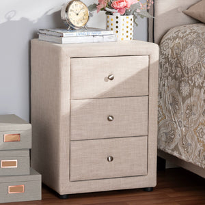 Baxton Studio Tessa Modern and Contemporary Beige Fabric Upholstered 3-Drawer Nightstand Baxton Studio-nightstands-Minimal And Modern - 7