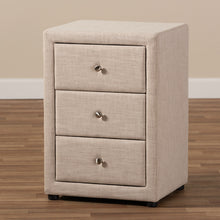 Baxton Studio Tessa Modern and Contemporary Beige Fabric Upholstered 3-Drawer Nightstand Baxton Studio-nightstands-Minimal And Modern - 8