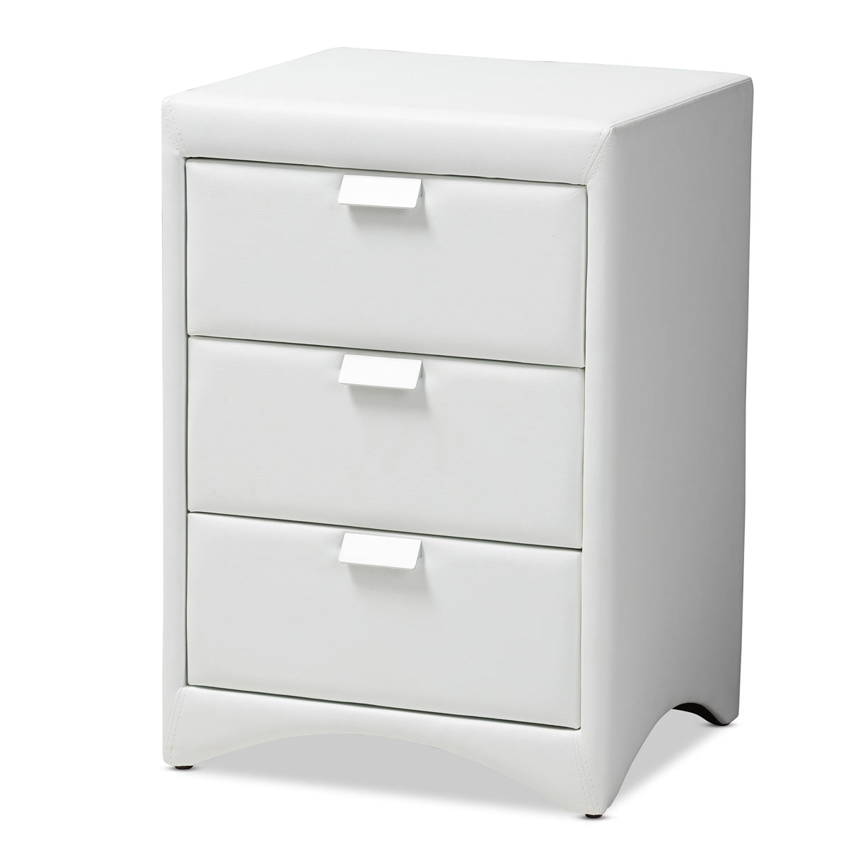 Baxton Studio Talia Modern and Contemporary White Faux Leather Upholstered 3-Drawer Nightstand Baxton Studio-nightstands-Minimal And Modern - 1