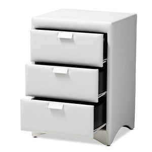 Baxton Studio Talia Modern and Contemporary White Faux Leather Upholstered 3-Drawer Nightstand Baxton Studio-nightstands-Minimal And Modern - 2
