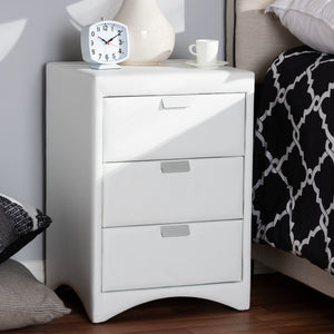 Baxton Studio Talia Modern and Contemporary White Faux Leather Upholstered 3-Drawer Nightstand Baxton Studio-nightstands-Minimal And Modern - 7