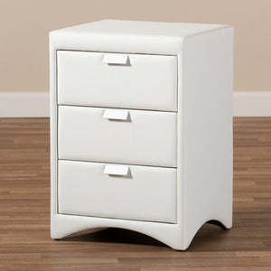 Baxton Studio Talia Modern and Contemporary White Faux Leather Upholstered 3-Drawer Nightstand Baxton Studio-nightstands-Minimal And Modern - 8