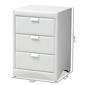 Baxton Studio Talia Modern and Contemporary White Faux Leather Upholstered 3-Drawer Nightstand Baxton Studio-nightstands-Minimal And Modern - 9