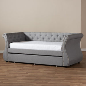 Baxton Studio Cherine Classic and Contemporary Grey Fabric Upholstered Daybed with Trundle