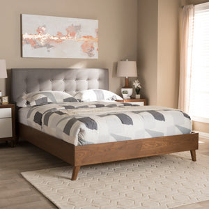 Baxton Studio Alinia Mid-century Retro Modern Grey Fabric Upholstered Walnut Wood King Size Platform Bed Baxton Studio-beds-Minimal And Modern - 6