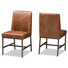 Baxton Studio Margaux Modern Luxe Light Brown Faux Leather Upholstered Dining Chair (Set of 2) Baxton Studio-dining chair-Minimal And Modern - 1