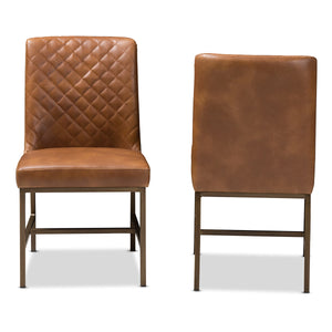 Baxton Studio Margaux Modern Luxe Light Brown Faux Leather Upholstered Dining Chair (Set of 2) Baxton Studio-dining chair-Minimal And Modern - 2