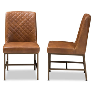 Baxton Studio Margaux Modern Luxe Light Brown Faux Leather Upholstered Dining Chair (Set of 2) Baxton Studio-dining chair-Minimal And Modern - 3