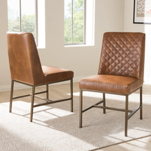 Baxton Studio Margaux Modern Luxe Light Brown Faux Leather Upholstered Dining Chair (Set of 2) Baxton Studio-dining chair-Minimal And Modern - 6