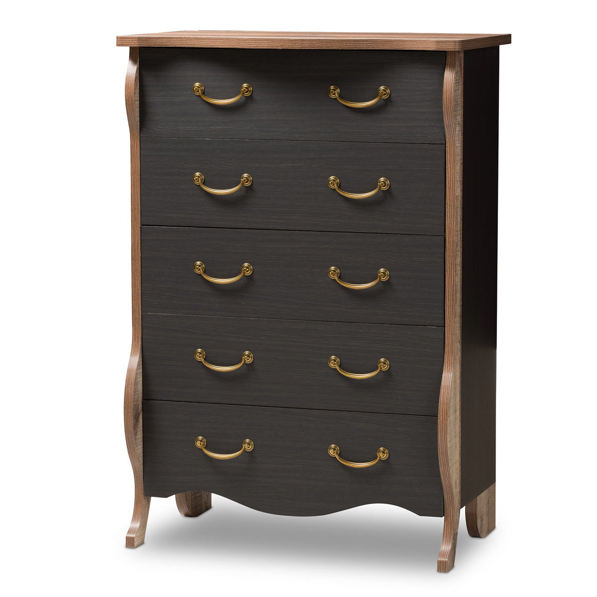 Baxton Studio Romilly Country Cottage Farmhouse Black and Oak-Finished Wood 5-Drawer Chest Baxton Studio-Dresser-Minimal And Modern - 1