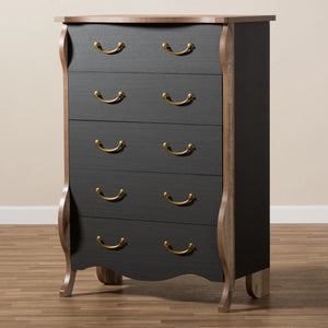 Baxton Studio Romilly Country Cottage Farmhouse Black and Oak-Finished Wood 5-Drawer Chest Baxton Studio-Dresser-Minimal And Modern - 10