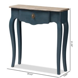 Baxton Studio Mazarine Classic and Provincial Blue Spruce Finished Console Table Baxton Studio-tv Stands-Minimal And Modern - 3