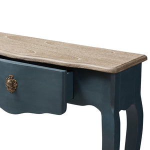 Baxton Studio Mazarine Classic and Provincial Blue Spruce Finished Console Table Baxton Studio-tv Stands-Minimal And Modern - 9