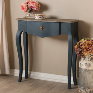 Baxton Studio Mazarine Classic and Provincial Blue Spruce Finished Console Table Baxton Studio-tv Stands-Minimal And Modern - 11