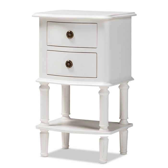 Baxton Studio Audrey Country Cottage Farmhouse White Finished 2-Drawer Nightstand Baxton Studio-nightstands-Minimal And Modern - 1