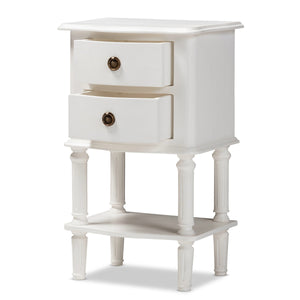 Baxton Studio Audrey Country Cottage Farmhouse White Finished 2-Drawer Nightstand Baxton Studio-nightstands-Minimal And Modern - 3