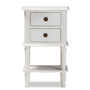 Baxton Studio Audrey Country Cottage Farmhouse White Finished 2-Drawer Nightstand Baxton Studio-nightstands-Minimal And Modern - 4
