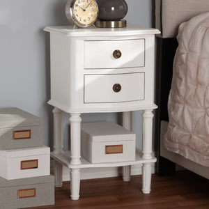 Baxton Studio Audrey Country Cottage Farmhouse White Finished 2-Drawer Nightstand Baxton Studio-nightstands-Minimal And Modern - 9
