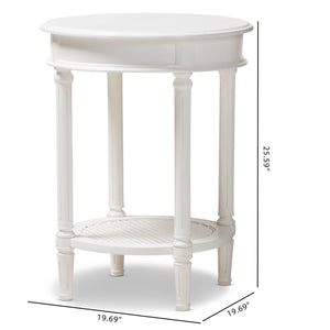 Baxton Studio Poire Country Cottage Farmhouse White Finished End Table Baxton Studio-coffee tables-Minimal And Modern - 7
