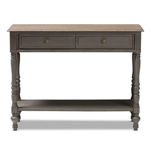 Baxton Studio Noemie Country Cottage Farmhouse Brown Finished 2-Drawer Console Table Baxton Studio-tv Stands-Minimal And Modern - 3