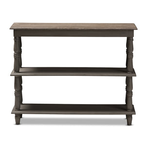 Baxton Studio Nellie Country Cottage Farmhouse Weathered Brown Finished Wood Console Table Baxton Studio-tv Stands-Minimal And Modern - 2