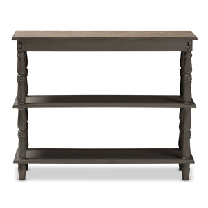 Baxton Studio Nellie Country Cottage Farmhouse Weathered Brown Finished Wood Console Table Baxton Studio-tv Stands-Minimal And Modern - 4