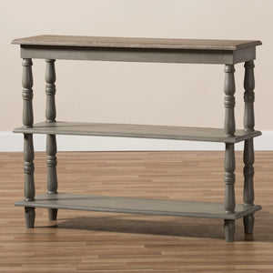 Baxton Studio Nellie Country Cottage Farmhouse Weathered Brown Finished Wood Console Table Baxton Studio-tv Stands-Minimal And Modern - 8