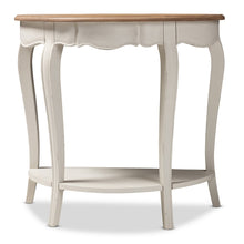 Baxton Studio Cordelia Country Cottage Farmhouse White and Natural Brown Finished Console Table