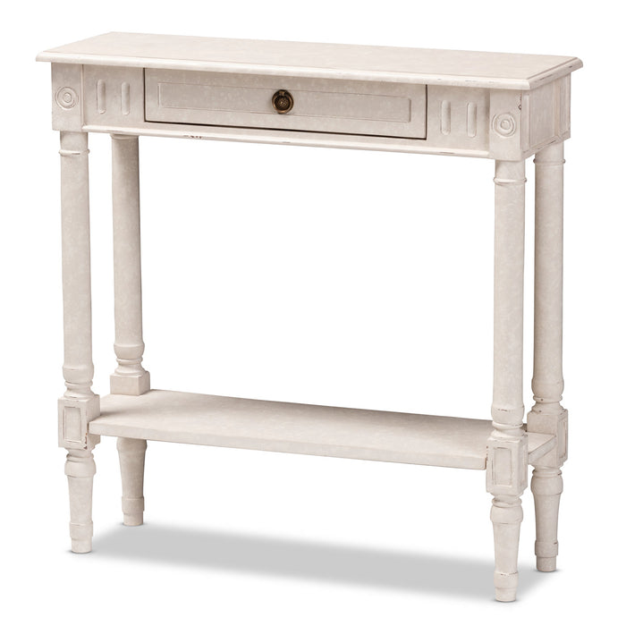 Baxton Studio Ariella Country Cottage Farmhouse Whitewashed 1-Drawer Console Table Baxton Studio-tv Stands-Minimal And Modern - 1
