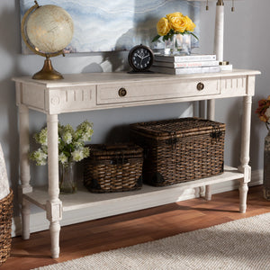 Baxton Studio Ariella Country Cottage Farmhouse Whitewashed 1-Drawer Console Table Baxton Studio-tv Stands-Minimal And Modern - 11