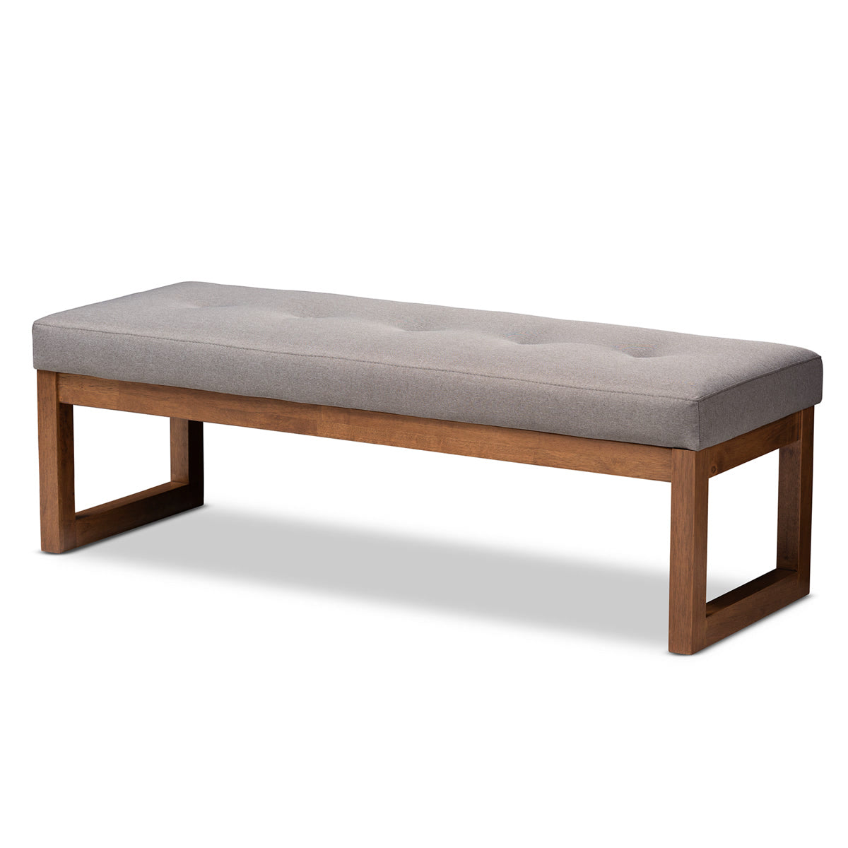 Baxton Studio Caramay Modern and Contemporary Grey Fabric Upholstered Walnut Brown Finished Wood Bench Baxton Studio-benches-Minimal And Modern - 1