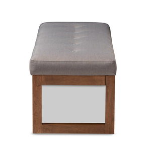Baxton Studio Caramay Modern and Contemporary Grey Fabric Upholstered Walnut Brown Finished Wood Bench Baxton Studio-benches-Minimal And Modern - 3