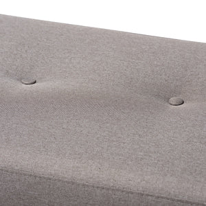 Baxton Studio Caramay Modern and Contemporary Grey Fabric Upholstered Walnut Brown Finished Wood Bench Baxton Studio-benches-Minimal And Modern - 4