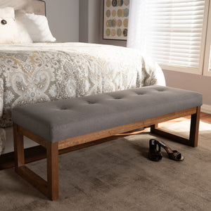 Baxton Studio Caramay Modern and Contemporary Grey Fabric Upholstered Walnut Brown Finished Wood Bench Baxton Studio-benches-Minimal And Modern - 6