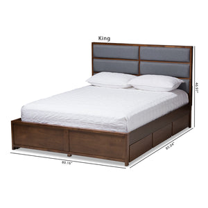 Baxton Studio Macey Modern and Contemporary Dark Grey Fabric Upholstered Walnut Finished King Size Storage Platform Bed Baxton Studio-beds-Minimal And Modern - 4