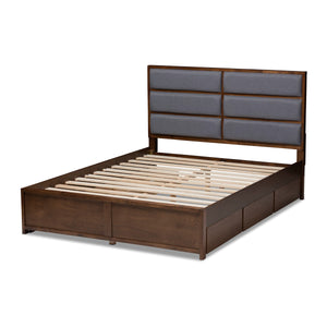 Baxton Studio Macey Modern and Contemporary Dark Grey Fabric Upholstered Walnut Finished King Size Storage Platform Bed Baxton Studio-beds-Minimal And Modern - 7
