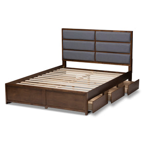 Baxton Studio Macey Modern and Contemporary Dark Grey Fabric Upholstered Walnut Finished King Size Storage Platform Bed Baxton Studio-beds-Minimal And Modern - 8