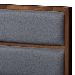Baxton Studio Macey Modern and Contemporary Dark Grey Fabric Upholstered Walnut Finished King Size Storage Platform Bed Baxton Studio-beds-Minimal And Modern - 9