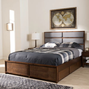 Baxton Studio Macey Modern and Contemporary Dark Grey Fabric Upholstered Walnut Finished King Size Storage Platform Bed Baxton Studio-beds-Minimal And Modern - 11