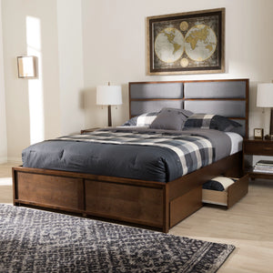 Baxton Studio Macey Modern and Contemporary Dark Grey Fabric Upholstered Walnut Finished King Size Storage Platform Bed Baxton Studio-beds-Minimal And Modern - 12