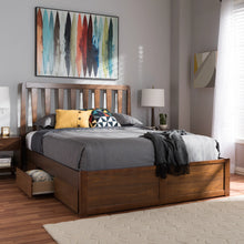Baxton Studio Raurey Modern and Contemporary Walnut Finished Queen Size Storage Platform Bed Baxton Studio-beds-Minimal And Modern - 2