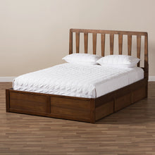 Baxton Studio Raurey Modern and Contemporary Walnut Finished Queen Size Storage Platform Bed Baxton Studio-beds-Minimal And Modern - 3