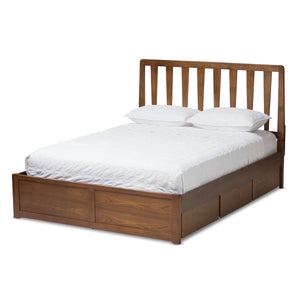 Baxton Studio Raurey Modern and Contemporary Walnut Finished Queen Size Storage Platform Bed Baxton Studio-beds-Minimal And Modern - 1