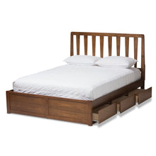 Baxton Studio Raurey Modern and Contemporary Walnut Finished Queen Size Storage Platform Bed Baxton Studio-beds-Minimal And Modern - 6
